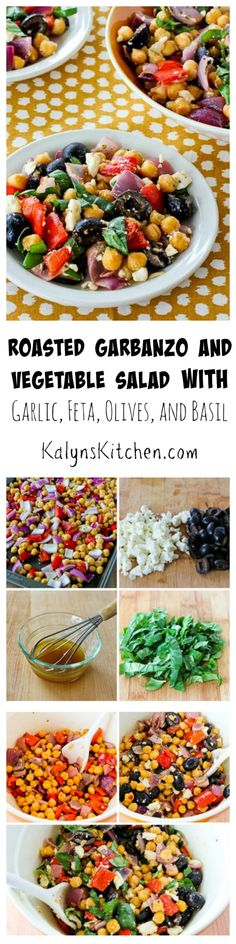 Roasting the garbanzo beans and vegetables together gives amazing flavor to this Roasted Garbanzo and Vegetable Salad with Garlic, Feta, Olives, and Basil.  Perfect for #MeatlessMonday or makes a wonderful side dish. [from KalynsKitchen.com]