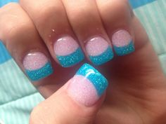 Gel nail with glitter pink and glitter sky blue.
