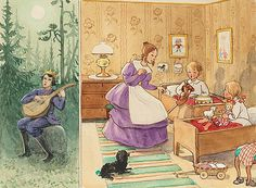 Aunt Lavender tells the legend of the Christmas goat to Petter and Lotta - Peter and Lotta's Christmas