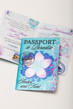 Save the Date Passport Invitation (Tropical Paradise) Flower Beach Wedding (Deposit/Design Fee) on Etsy, $50.00 ♥