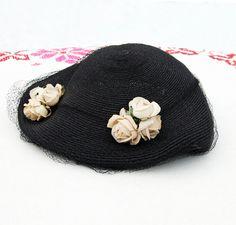 1940's Black & White Floral Vintage Hat | 40's Fascinator with Veil | Vintage Rose or Camellia Flowers | Black Tulle Veil | Woven Dress Hat by MinkyVintage on Etsy