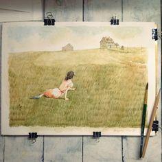 i'm painted Christina's world by watercolor small but cute ;)   วาดสีน้ำจากภาพคริสติน่า เวิลด์ ของแอนดรูว์ ไวเอ็พ ศิลปินอเมริกัน