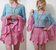 I make clothing from vintage lace, crochet, velvet, tapestries, anything vintage. Crochet Skirts, Crochet Blouse, Crochet Clothes, Crochet Lace, Knit Dress, Crochet Summer, Girl Dress Patterns, Coat Patterns, Blouse Patterns