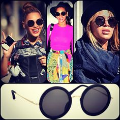 4682a582c0 Beyonce in The Row for Linda Farrow Round Sunglasses