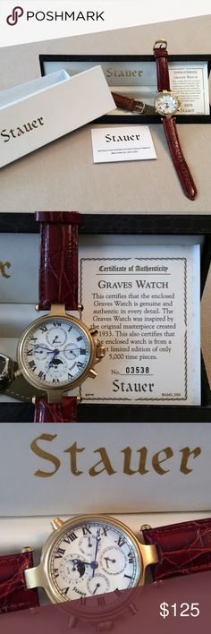 Stauer Graves Limited Edition Men's Watch #3,538 of only 5,000 Limited Edition Stauer Graves '33 Wristwatch. Self winding, kinetic watch with exceptional movement and accurate time keeping. Perfect as a gift for the man in your life. 2 leather bands included. 4 interior dials show month, date, day & 24-hour clock depicts the sun and moon. Never needs batteries. Blue hands have a smooth sweeping movement inspired by the original 1933 Henry Graves luxury timepiece. He will thank you for this…