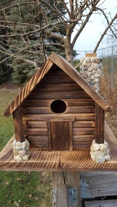 Check out this item in my Etsy shop https://www.etsy.com/listing/563045202/birdhouse-with-stone-chimney-and-porches #homemadebirdhouses #birdhouses