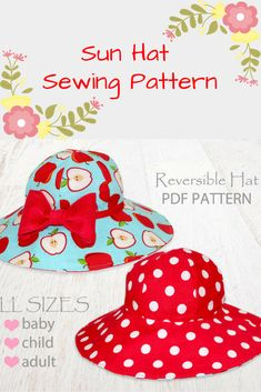 Sun Hat Sewing Pattern | Sizes from Baby to Adult | Perfect to wear in the summer! Would also make a cute gift for baby. #ad #sunhat #sewingpattern #pattern #baby #gift #hatpattern #summer #summerhat
