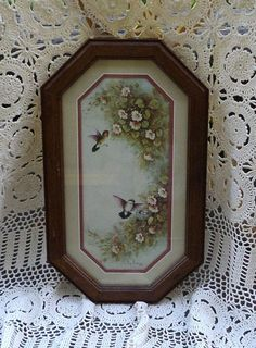 margie morrow 1983 humming bird print tall matted wood frame home interior homco