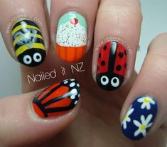 Nailed It NZ: Skittle nail art - children& version! Simple but cute nail art - designed just for the kids I work with! They loved them! Nail Art Design Gallery, Cute Nail Art Designs, Spring Nails, Summer Nails, Cute Nails, Pretty Nails, Nail Art For Kids, Daisy Nails, Nail Time