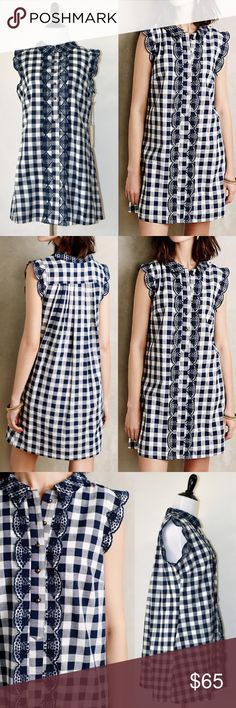 NWT Dear Creature Anthropologie Gingham Mini Dress New with tag Dear Creatures Anthropologie  Trinette Shirtdress Dress  Side pockets Fully lined Polyester, spandex; cotton lining Soft fit-and-flare silhouette Loose fit Lace detail at sleeve Button front Hand wash Size small, medium (the size tag says it's petite medium but seems like longer than regular s size. see the details in the 7th picture) Color: navy / white Dear Creatures Dresses Mini