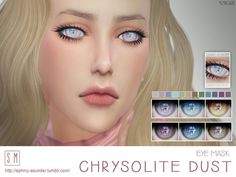Created By Screaming Mustard [ Chrysolite Dust ] - Eye Mask Created for: The Sims 4 A beautiful and fantasy themed eye mask in 12 gorgeous shades. Sims 4 Body Mods, Sims 4 Game Mods, Sims 4 Mods, The Sims, Sims Love, Sims 4 Cc Eyes, Sims 4 Mm Cc, Sims 4 Piercings, Sims 4 Anime