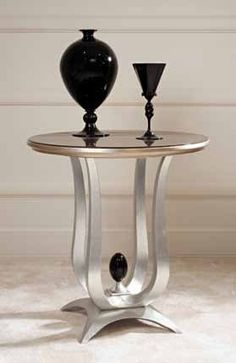 Coffee Tables & End Tables : PREG.TL38R - This elegant side table is finished in striking black lacquer and features silver leaf accents for a truly tasteful, yet artistic design.