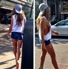 Like this summer outfit- except she needs an actual sports bra or something.