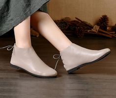 Handmade Gray Shoes,Ankle Boots,Oxford Women Fall Shoes, Flat Tie-Back Shoes, Retro Leather Shoes, Casual Shoes, Grey Booties