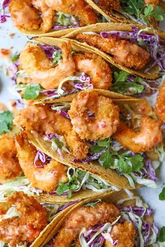 Super crisp shrimp tacos drizzled with the most amazing and epic sweet creamy chili sauce.