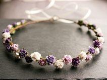Blütenkranz mit Rosen in flieder - lila - weiss