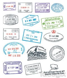 Various vector passport stamps. Collection of various clear passport vector stam. Travel Stamp, Passport Travel, Luggage Stickers, Sydney City, Passport Stamps, Stamp Collecting, Free Vector Art, Royalty Free Stock Photos, Bullet Journal