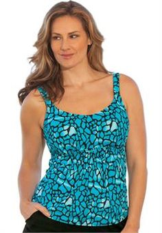 Plus Size Beach Belle La Quinta Flared Tankini Top