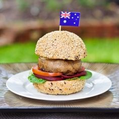 A meaty tasty burger perfect for the Australia Day barbie (or any barbie for that matter). Burger Perfect, Good Burger, Tasty Burger, Entree Recipes, Wrap Recipes, Vegan Recipes, Hamburgers, Aussie Food, Aussie Bbq