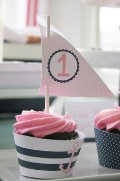 Darling nautical cupcakes at this Sailor Girl + Navy Birthday Party via Kara's Party Ideas | http://partyideacollectionsconner.blogspot.com