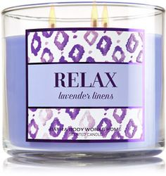 Relax - Lavender Linens 3-Wick Candle - Home Fragrance 1037181 - Bath & Body Works