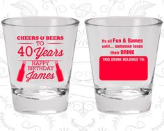 40th Birthday, Cheers to 40 years, Name Tags, Happy Birthday Shot Glasses, Birthday Glasses (20165)