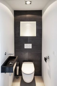 There is actually a Small Bathroom Design Revolution as well as You'll Love These Rule-breaking Trends Nice small basement bathroom design ideas only in popi home design Small Downstairs Toilet, Small Full Bathroom, Small Basement Bathroom, Small Toilet Room, Bathroom Design Small, Office Bathroom, Bathroom Layout, Bathroom Interior Design, Modern Bathroom