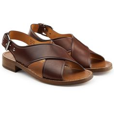 Church's Leather Sandals (5.380 ARS) ❤ liked on Polyvore featuring shoes, sandals, brown, small heel sandals, church's footwear, low heel shoes, brown low heel shoes and low heel sandals