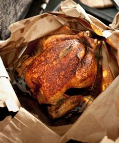Brown Bag Chicken & I& made this a bazillion times, and I love how easy it is. Haven& started a fire yet, and that& success in my book. Turkey Recipes, Meat Recipes, Gourmet Recipes, Chicken Recipes, Dinner Recipes, Cooking Recipes, Cooking Hacks, Roasted Chicken, Fried Chicken