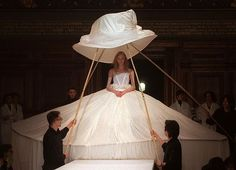 1998 Autumn/Winter, Wedding dress with a modern crinoline design by Yohji Yamamoto.