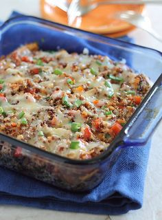 Cheddar Chicken Quinoa Bake: Use rotisserie chicken for a quick meal. And use reduced fat cheese and you'll have one incredibly healthy and family pleasing meal.