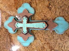 Rustic Turquoise Cross by Sass of Ash Designs Jeanette Floyd