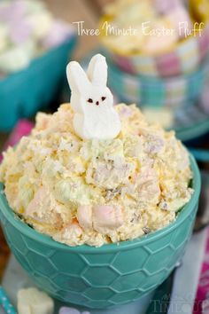 This easy dump and go, one-bowl Three Minute Easter Fluff is the perfect addition to your Easter festivities! A delicious dessert salad everyone will love!