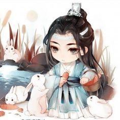 Lan Zhan's Untamed (Lan Zhan x Wei Wuxian) - Bunny with Bunny - Wattpad Anime Chibi, Kawaii Anime, Loli Kawaii, Kawaii Chibi, Cute Chibi, Anime Art, Chibi Characters, China Art, Japan Art