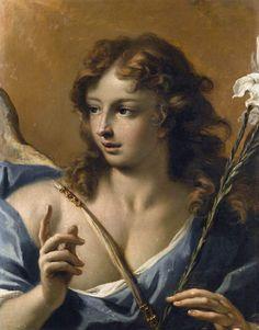 Anjo da anunciação, c. 1710, Sebastiano Ricci,(1659-1734), óleo sobre tela, 63 x 49cm, Coleção Particular [DETALHE].