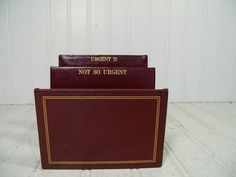 Vintage Deep Dark Red Letter Bin with Gold Tooling by DivineOrders, $19.00