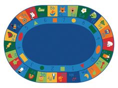 "Learning Blocks Alphabet & Numbers Classroom Circle Time Rug, 8'3"" x 11'8"" Oval"