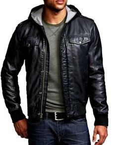 Mens Hooded Leather Bomber Jacket - Coat Nj