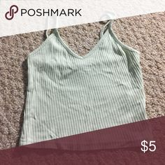 Rubbed Crop Top Top shop ribbed tank top. Lightly worn (1-4 times) Topshop Tops Crop Tops