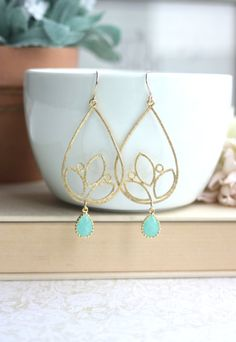 Mint Gold Framed Glass Drops, Matte Gold Plated Marquise Floral Chandelier Earrings.