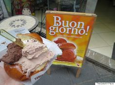 gelato briocheWe know you've been waiting for this one. Sicilian gelato is made from a crema rinforzata base: milk, cornstarch and sugar, which means it's much less creamy and a lot more flavorful than run-of-the-mill ice cream (sorry, old friend). Savor it in a brioche bun to achieve premium foodie status.