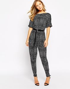 8daa8b674969 Image 1 of Oasis Mono Print D Ring Jumpsuit Mono Print