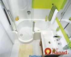 Ideas for a small bathroom - interior design examples Small Bathroom With Bath, Small Bathroom Floor Plans, Bathtubs For Small Bathrooms, Small Bathroom Interior, Space Saving Bathroom, Small Bathtub, Bathroom Design Small, Bathroom Designs, Compact Bathroom