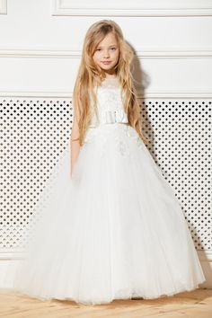 e91cf2bdf Ivory Lace Flower Girl Dress Wedding Party Bridesmaid Holiday Birthday  Tulle Cream Beige Tutu Kids Guipure