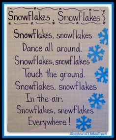 Anchor Chart for Snowflake Song in Shared Reading via RainbowsWithinReach Winter RoundUP