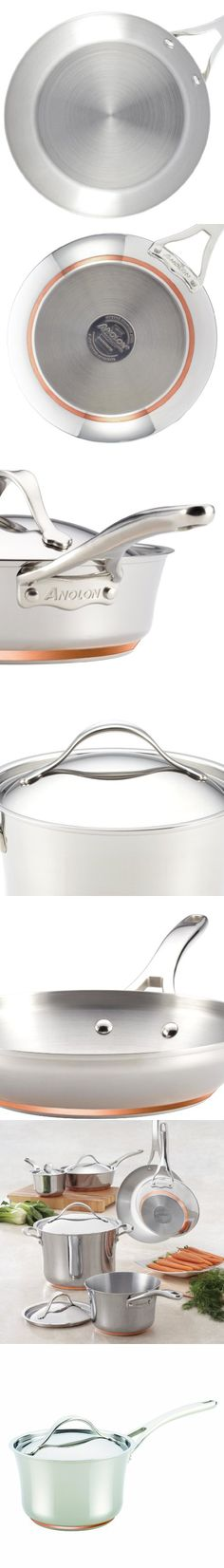 Anolon Nouvelle Copper Stainless Steel 3-1/2-Quart Covered Saucepan