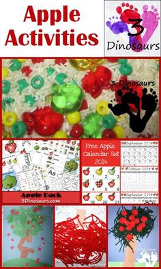 Apple Activities from 3Dinosaurs.com: Printables, arts and crats, sensory bins and more
