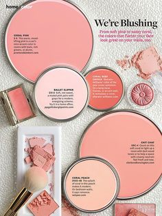 BHG's favorite shades of blush and corals that would look great on a wall or painted on accent furniture.  Paint color names and brands from BHG