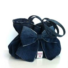 Jean bow purse recycled blue denim bow bag Vegan от Sisoibags