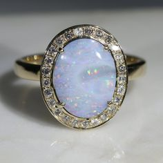 Natural Australian Solid White Boulder Opal and Diamond Gold Ring - Size 8 Code -GR774 10k Gold Ring, Gold Diamond Rings, Gold Rings, Gemstone Rings, Opal Color, Green Opal, Australian Opal, Opal Jewelry